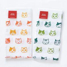 108 cats'faces Japanese Tenugui orange green by chocotteJapan