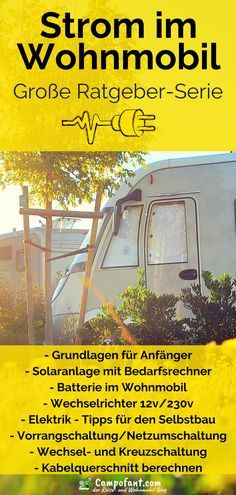 Electricity in the motorhome is an important issue. That's why we want to summarize in our large guide series for power supply in the camper everything that you need to know about the electricity supply at the campsite, CEE plug and adapter, but Vw Bus, Vw T5 Camper, Mini Camper, Volkswagen, Trailers Camping, Trailer Tent, Camper Trailers, Van Camping, Camping World