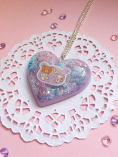 Space Rilakkuma Heart Necklace by MistyPixieShop on Etsy