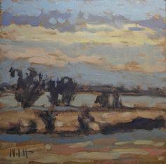 Stars at Dusk Landscape Impressionism Melancholy Art -- Heidi Malott