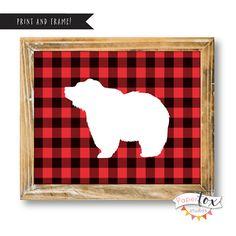 Buffalo Plaid Printables, Buffalo Plaid Decor, Bear Art Print, Printable Art, Wall Art Prints, Buffalo Check, Buffalo Plaid Baby, Rustic