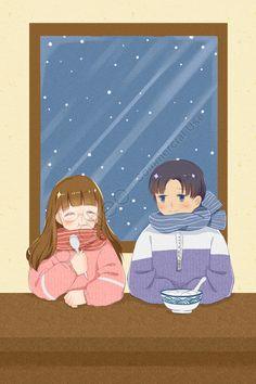 Korean Illustration, Face Illustration, Couple Illustration, Digital Illustration, Winter Couple Pictures, Cute Walpaper, Couple Drawings, Cute Girl Face, Winter Solstice