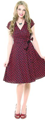 Heartbreaker 1950's Style Black & Red Gazebo Diane Wrap Dress
