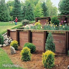 eliminate steep, difficult to mow slopes, stop erosion and create attractive planting beds with an easy to assemble wood retaining wall.  it uses lightweight materials to create a strong durable wall.  it uses standard treated dimensional lumber. you can easily adapt it to your site. and you can preassemble much of it in your garage!