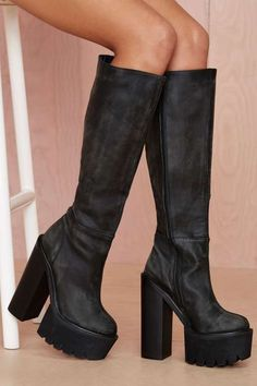 Jeffrey Campbell Mudler Leather Knee-High Boot - Boots Nasty Gal $245