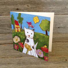 Carte de souhait carré • Le chat dans les coquelicots - reproductions des toiles d'isabelle Malo Isabelle, Reproduction, Frame, Home Decor, Poppies, Canvases, Paper Mill, Cat Breeds, Picture Frame