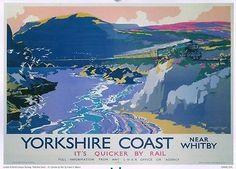 #Yorkshire Coast #Railway Poster, #England.