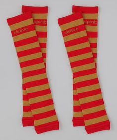 Take a look at this Red & Old Gold Stripe Arm Warmers by The Spirit Sleeve on #zulily today!
