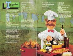 The Swedish Chef~Muppet Picnic Cookbook Pages 9-10 Swedish Chef's Barbecued Filet of Sole~and more