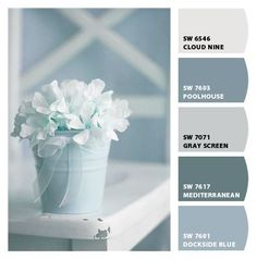 I love love love these paint colors for a bathroom! Paint colors from Chip It! by Sherwin-Williams. More color ideas to give your home some Beach Chic .