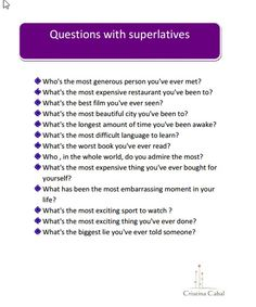 Some Activities to Talk Nonstop Using Comparatives and Superlatives | Blog de Cristina
