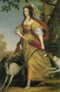 """Louise Henriëtte of Nassau as Diana. Born in The Hague, the eldest daughter of Frederick Henry, Prince of Orange, and Amalia of Solms-Braunfels. Her father was the Stadtholder of Holland, Zeeland, Utrecht, Guelders and Overijssel. She was forced to marry Frederick William, Elector of Brandenburg (1620-1688), """"the Great Elector,"""" at The Hague on 7 December 1646, her nineteenth birthday."""