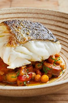 Skrei with Chickpea and Chorizo Stew Recipe - Great British Chefs José Pizarro serves up beautifully flaky pan-fried Skrei on a bed of chickpea and chorizo stew in this stunning recipe. Fish Recipes, Seafood Recipes, Gourmet Recipes, Healthy Recipes, Cod And Chorizo Recipes, Fine Cooking Recipes, Gourmet Desserts, Fish Dishes, Seafood Dishes