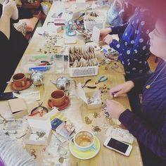 Charm School Workshop ladies working on their lovely creations  #nostalgems #kerikeri #newzealand #handmadejewellery #charmschool