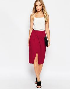 Image 1 of ASOS Pencil Skirt with Wrap Front
