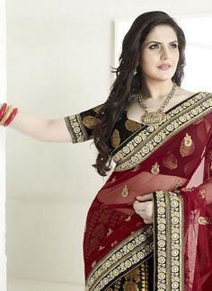 83b6fb9775 Black Georgette and Net Saree Zarine Khan Collection Net Saree, Lehenga  Saree, Bollywood Saree