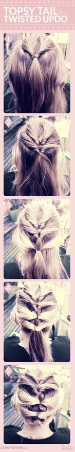 Topsy Tail-Inspired Twisted Updo Tutorial - I feel like this is something I could actually do! Looks kind of like a French braid, but not...