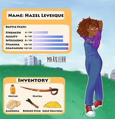 Now presenting Annabeth's video game character sheet! 💖 Designing her official outfit was so fun, I'm trying to make everyone fashionable… Percy Jackson Fandom, Percy Jackson Characters, Percy Jackson Quotes, Percy Jackson Fan Art, Percy Jackson Books, Hazel Levesque, Percabeth, Solangelo, Rick E