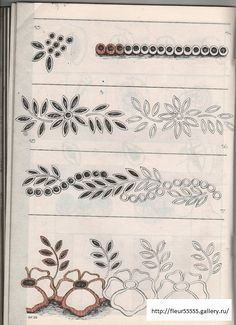 cutwork border patterns: many more at link Border Embroidery Designs, Cutwork Embroidery, Floral Embroidery Patterns, Lace Patterns, Vintage Embroidery, White Embroidery, Sewing Machine Embroidery, Embroidery Needles, Bordado Floral