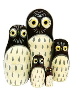 Cute family of barn owls is beautifully hand painted on a set of 5 Russian nesting dolls. Buy it here today while on sale. Available in limited stock.