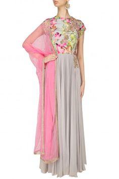 Chhavvi Aggarwal Grey Floral Printed Anarkali Set #happyshopping #shopnow #ppus