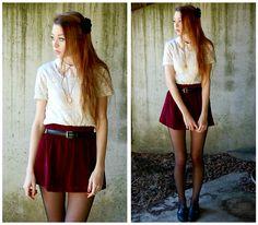 Leatherette Flower, Velvet Skirt, Everything Else, Tights