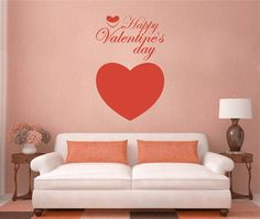 kik2371 Wall Decal Sticker Heart Happy Valentine's Day greeting Store Cafe stained glass