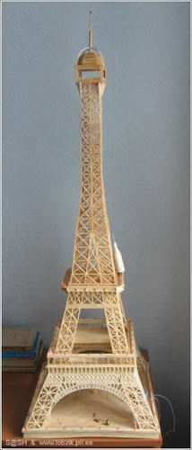 Eiffel Tower Made of Matchsticks or Matches - made by Alexandr Pashkevich from Ukraine - He used 7464 matches and numerous LED lights.