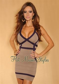 Taupe Plum Banded Accent Racer Back Bandage Dress $44.99 Hot Miami Styles