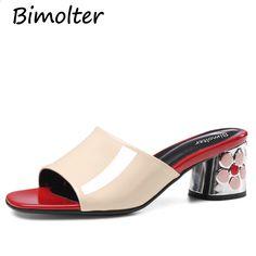 70e3fa04ad2aa Bimolter Nowe Kwiatowe Kwadratowe obcasy buty mody 5.5 cm letnie sandały  Dorywczo Kwiaty skóra bydlęca kobiety