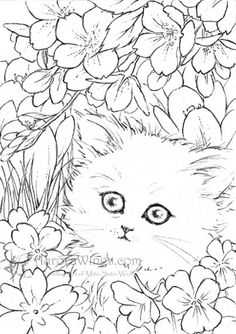 White Kitten in Flowers by Mitzi Sato-Wiuff * Coloring pages colouring adult detailed advanced printable Kleuren voor volwassenen coloriage pour adulte anti-stress kleurplaat voor volwassenen Line Art Black and White