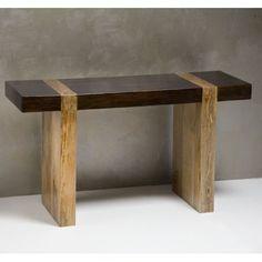 Chunky Wood Modern Rustic Console Sofa Table: Furniture
