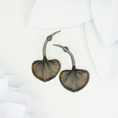 Bronze leaf earrings metal earrings flower jewelry