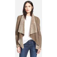 Vince 'Cascade' Genuine Shearling Jacket (251.105 HUF) ❤ liked on Polyvore featuring outerwear, jackets, olive, olive green jacket, brown shearling jacket, army green jacket, shearling jacket and brown jacket