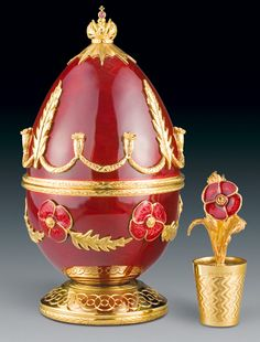 "(3) FABERGE eggs__Theo Faberge__"" Poppy Egg"