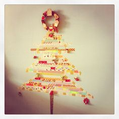 cute washi tape Christmas tree. Could do in a frame or old window