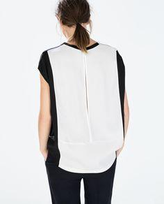 image 3 de t shirt court bloc de couleur de zara