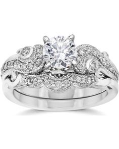 14k white gold 34 cttw vintage diamond engagement wedding ring set 14k white gold
