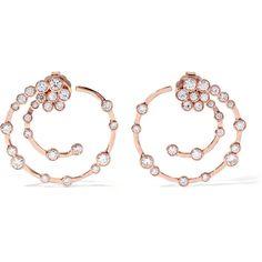 Ippolita Glamazon® Stardust 18-karat rose gold diamond earrings (803,410 PHP) via Polyvore featuring jewelry, earrings, gold, rose gold hoop earrings, diamond jewellery, ippolita jewelry, 18k diamond earrings and 18k earrings