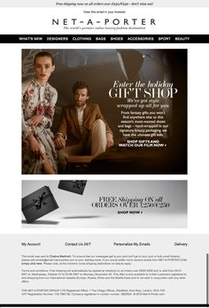 #newsletter #christmas Net a porter 11.2015 #AllForYou – The Holiday Gift Shop is now open