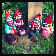 My finished hand painted zombie gnome family ❤