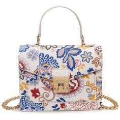 Metal Detail Print Handbag (€22) ❤ liked on Polyvore featuring bags, handbags, shoulder bags, purses, accessories, rosegal, hand bags, handbags shoulder bags, print purse and white handbag