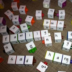 My version of my previously pinned phonics center.  I used multi-link cubes since I have so many!!