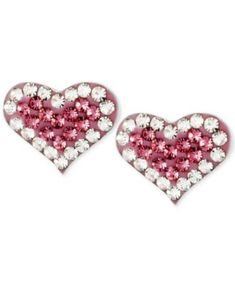 With a radiant pink glow, these heart-shaped Betsey Johnson earrings ensure that love positively sparkles. Crafted in silver-tone mixed metal and accented with glass pave crystals. Approximate drop: 2