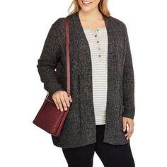 Plus Size Faded Glory Women's Plus Cardigan with Pockets, Size: 4XL, Black