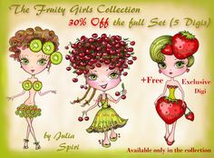 Julia Spiri Challenge Blog: New Digital Stamps. The Fruitty Girls Collection.