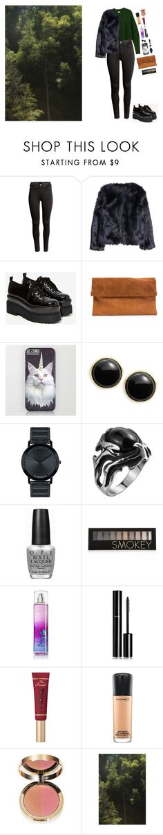 """""""Forest"""" by liz-poiriet ❤ liked on Polyvore featuring H&M, Jeffrey Campbell, Karen Kane, Movado, OPI, Forever 21, Chanel, Too Faced Cosmetics and MAC Cosmetics"""