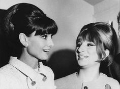 Audrey Hepburn backstage with Barbra Streisand after a performance of Funny Girl, 1964.