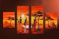 hand-painted  african woman painting beauty lake African grassland wall decoration  4pcs/set framed