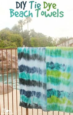 DIY Tie Dye Beach Towels - Levi's homemade b-day gift from mom? Tie Dye Crafts, Crafts To Do, Kids Crafts, Summer Diy, Summer Crafts, Ty Dye, Tie Dye Party, Tie Dye Techniques, Summer Activities For Kids
